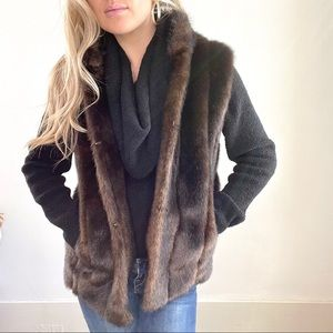 Fabulous Furs Dark Brown Faux Fur Vest Small